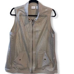 Weekends by Chico's Carson zip up gold mesh vest